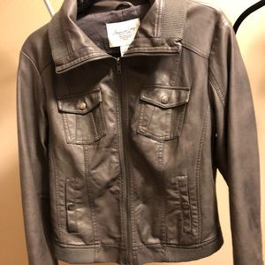 Leather jacket, Nordstrom women's gray
